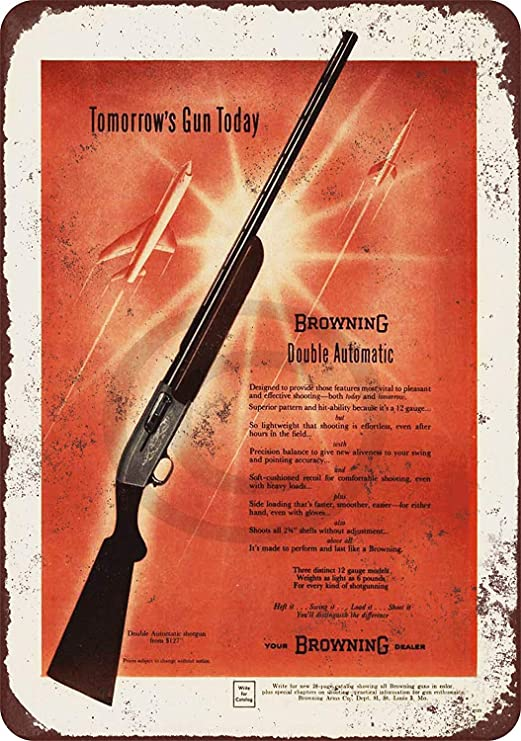 1957 Browning Double Auto Shotguns Reproduction Metal Sign 8 x 12