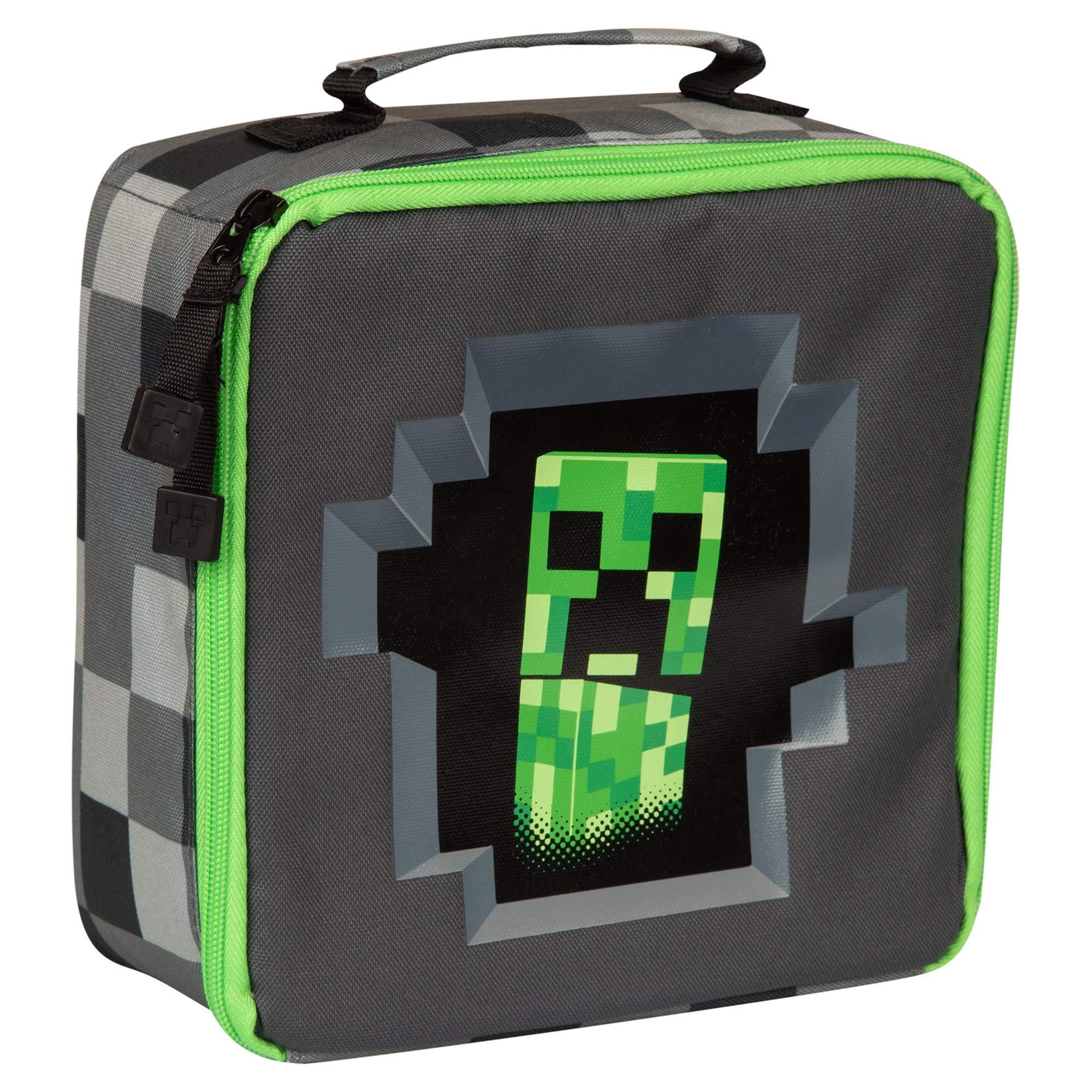 JINX Minecraft Creepy Creeper Insulated Kids School Lunch Box, Gray/Black, 8.5 inch x 8.5 inch x 4 inch by JINX