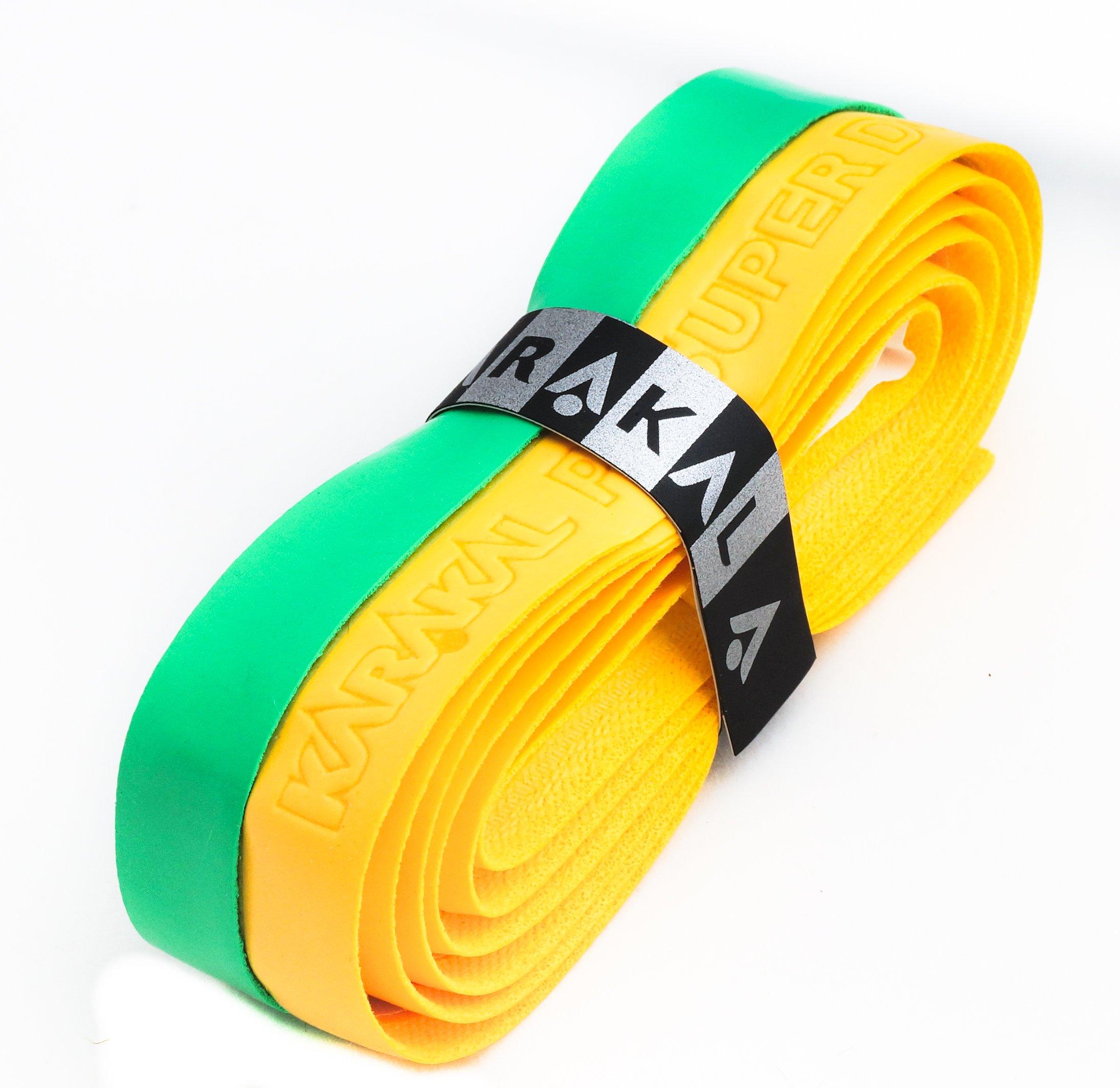 Karakal PU Supergrip replacement racquet grip - tennis / badminton / squash - Yellow / Green x 6 by Karakal