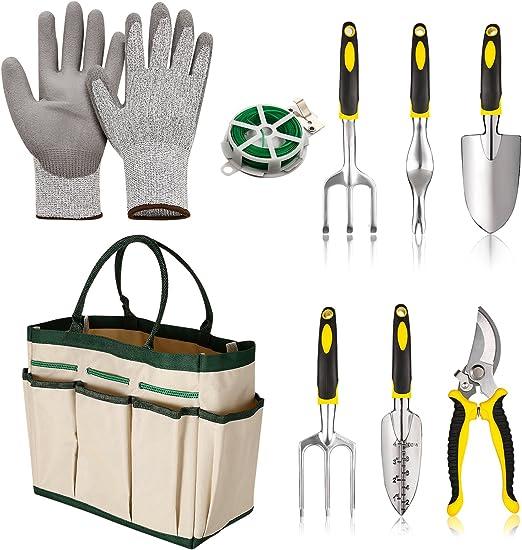 Conjuntos de herramientas de jardín 9 piezas Jardinería herramienta Sets Herramienta de Jardinería Regalos Set con 6 Herramienta de mano jardín guantes y bolsa de almacenamiento (blanco): Amazon.es: Jardín
