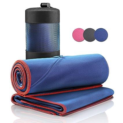 Juego de Toallas de Microfibra + Funda de Transporte | Set de 2 Azules: Grande para baño, pequeño para Cuerpo y Cara | Ultra–Ligeras, absorbentes, de ...