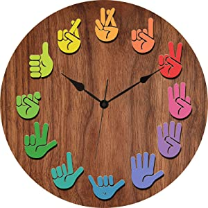 Silent Large Wall Clock 14 Inch Wooden Texture Gesture Unique Cute Decor for Vintage Farmhouse Kitchen Living Room Bedroom Office