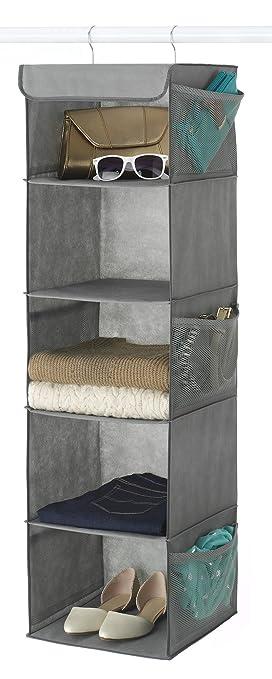 Zober 5 Shelf Hanging Closet Organizer   6 Side Mesh Pockets Breathable  Polypropylene Hanging Shelves