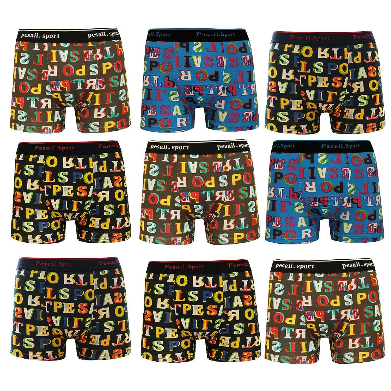 4/6/9er Pack Boxershorts Herren Boxer Short Unterhose Männlich Unterwäsche aus Baumwolle mit Bunt Alphabet Letter Muster M L XL XXL Pesail Sport