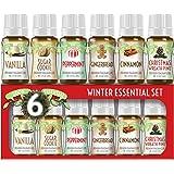 Winter Essential Oil Set of 6 Fragrance Oils - Christmas Wreath Pine, Vanilla, Peppermint, Cinnamon, Sugar Cookie, and…