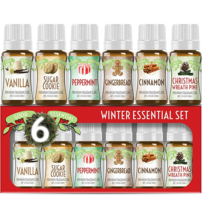 Amazon.com: Winter Essential Oil Set of 6 Fragrance Oils - Christmas Wreath Pine, Vanilla, Peppermint, Cinnamon, Sugar Cookie, and Gingerbread by Good Essential Oils - 10ml Bottles: Beauty