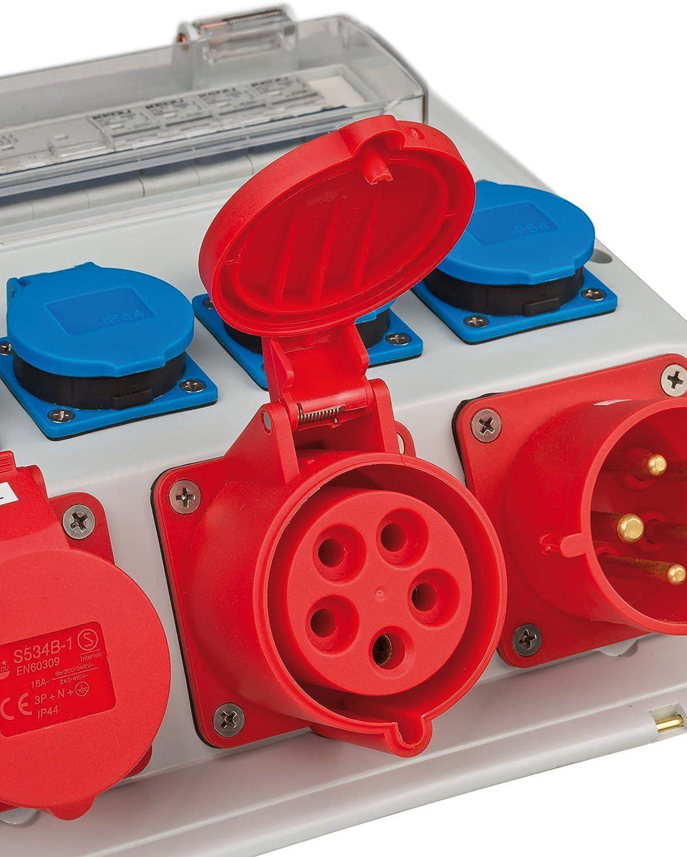 2 x CEE-Einbausteckdosen IP44 zum Einbau in Wandverteiler 415V//16A rot