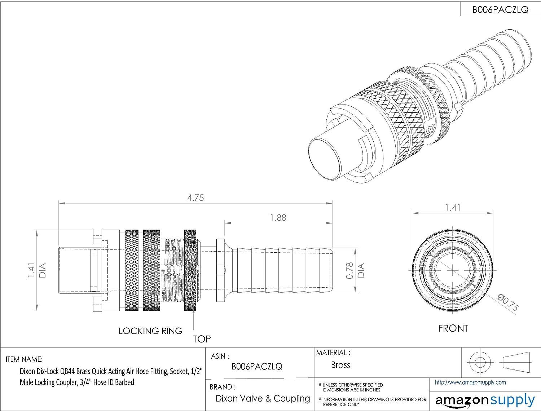 Dixon Dix-Lock QB44 Brass Quick Acting Air Hose Fitting Socket 3//4 Hose ID Barbed 1//2 Male Locking Coupler