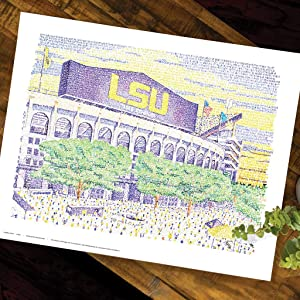 LSU Tiger Stadium Word Art - Unframed 16x20 - Handwritten with the scores of every win in history - LSU Gifts & Decor Poster - Tigers Football