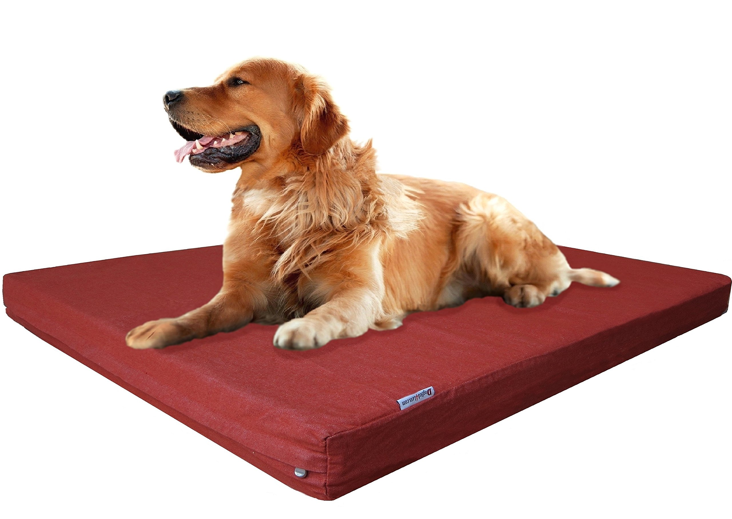 Dogbed4less XL Durable Waterproof Orthopedic Memory Foam Dog Pet Bed with Extra External Cover, Bombay Brown, 40X35X4 Inches