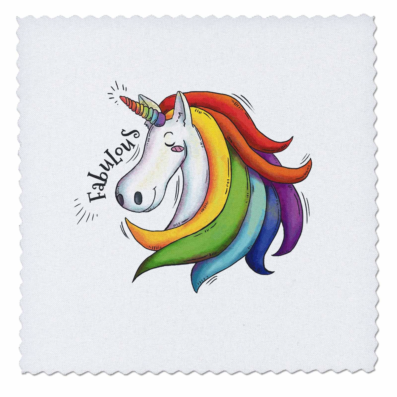 3dRose Sven Herkenrath Animal - Funny Fantasy Unicorn with Rainbow Fabulous - 16x16 inch quilt square (qs_280357_6)