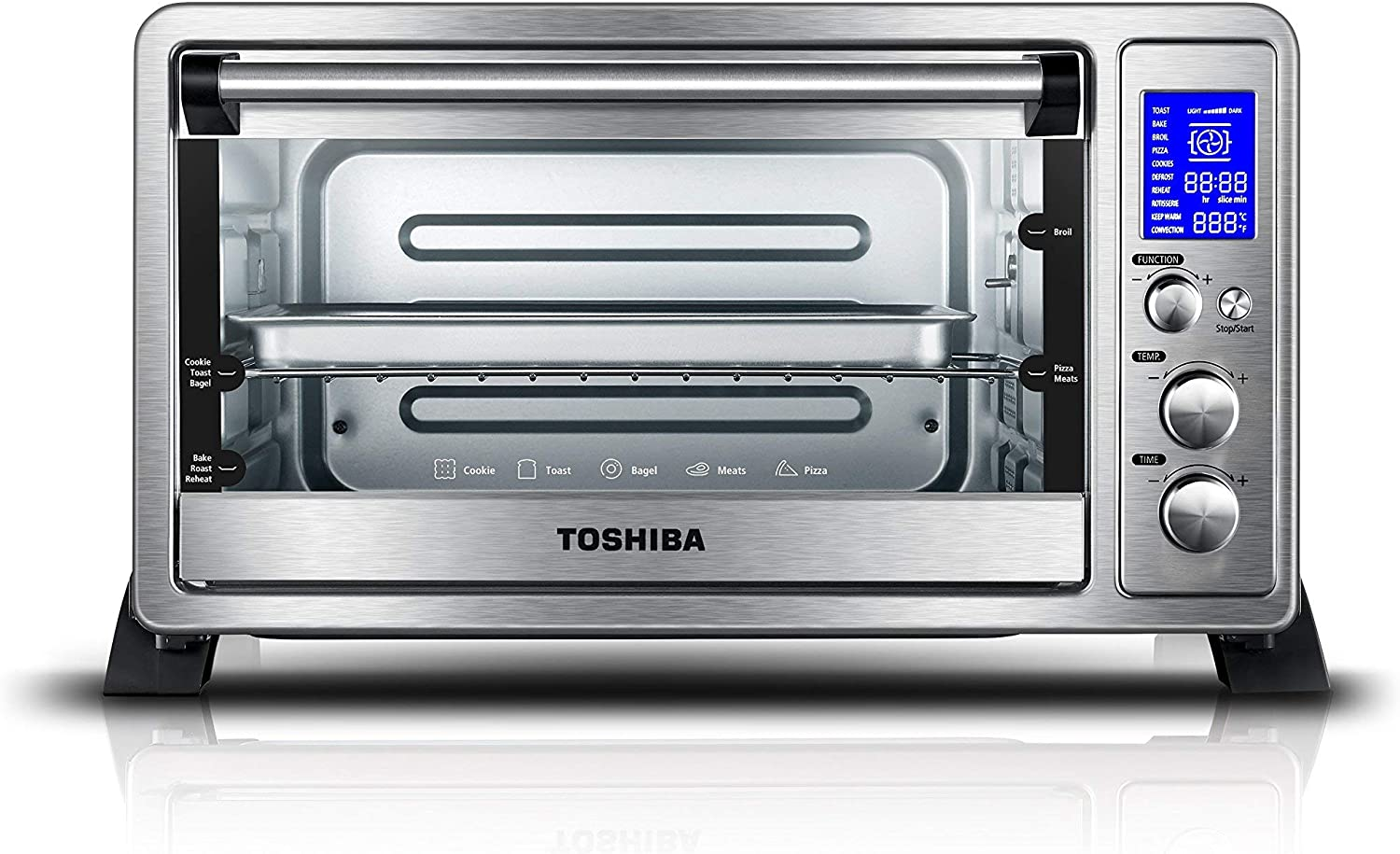 Toshiba AC25CEW-SS Digital Oven with Convection/Toast/Bake/Broil Function, 6-Slice Bread/12-Inch Pizza, Stainless Steel (Renewed)