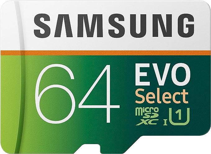 Amazon.com: SAMSUNG EVO Select 64GB microSDXC UHS-I U1 100MB/s Full HD & 4K UHD Memory Card with Adapter (MB-ME64HA): Computers & Accessories