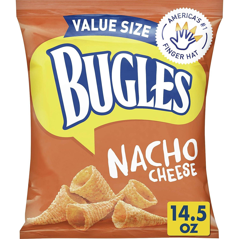 Bugles Nacho Cheese Crispy Corn Snacks, 14.5 oz (Pack of 6)