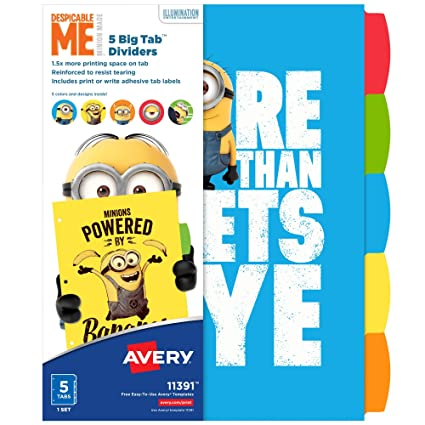 avery despicable me big tab dividers minions expressions 5 tab dividers 1
