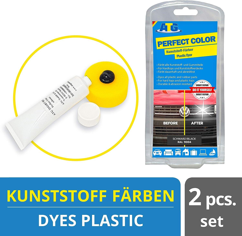 ATG ATG047, El tinte de plástico proporciona paragolpes, brinda nueva vida y devuelve el brillo - funciona para cualquier automóvil y motocicleta, negro, embalaje surtido