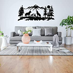 Metal Wall Art, Metal Wolves Family Art, Nature Wall Art, Wolf, Mountain and Tree Decor, Metal Wall Decor (40