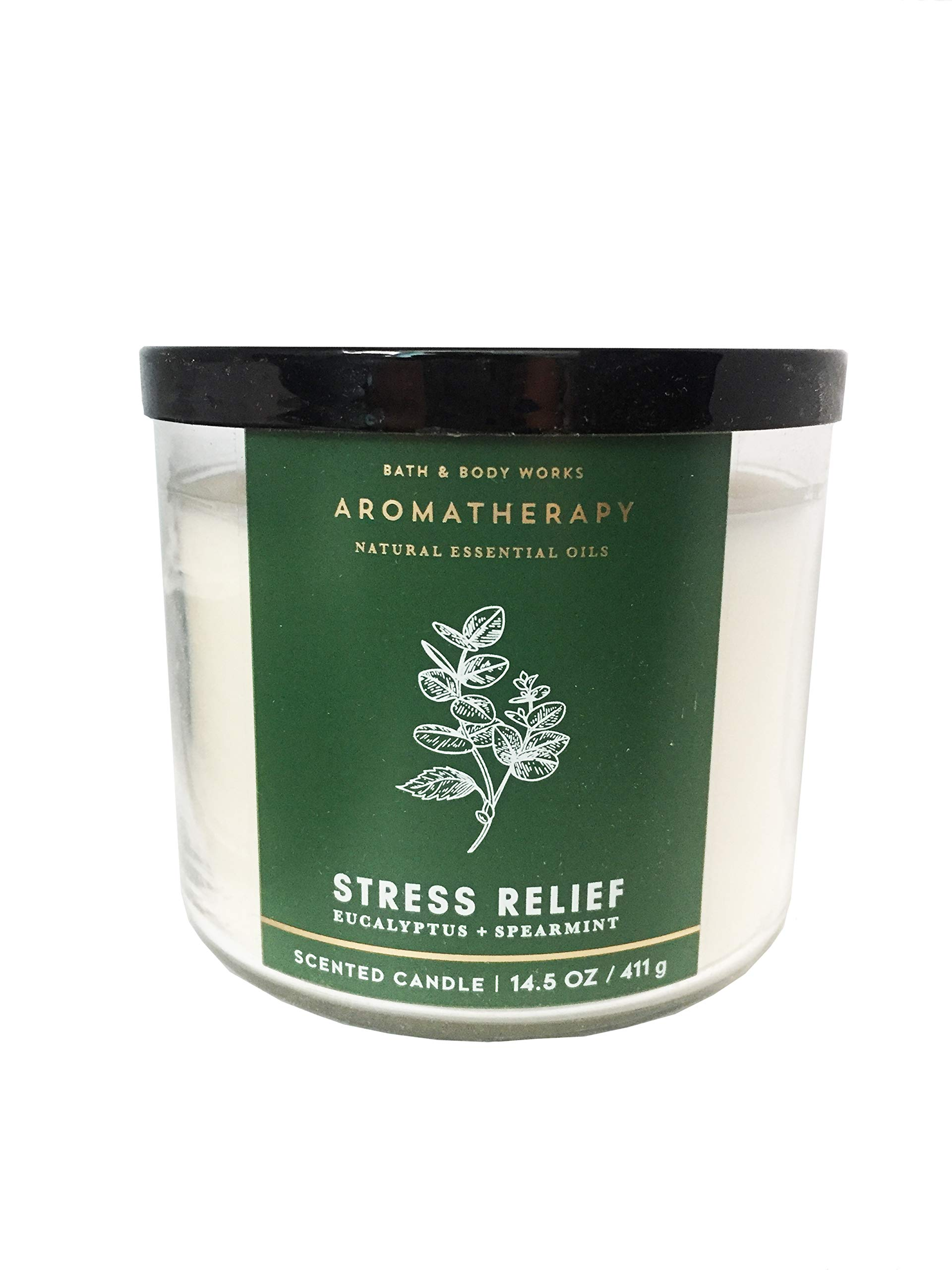 Bath & Body Works Aromatherapy 14.5 oz 3-Wick Candle Stress Relief Eucalyptus Spearmint
