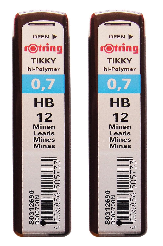 2 Pcs. Rotring Tikky Mechanical Pencil Lead 0.7mm Hb, 12 Lead