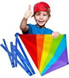Sun Kites Diamond Kite for Kids - Bright Rainbow Colours - Great for Beginners - Very Easy to Fly - Comes with String and Handle