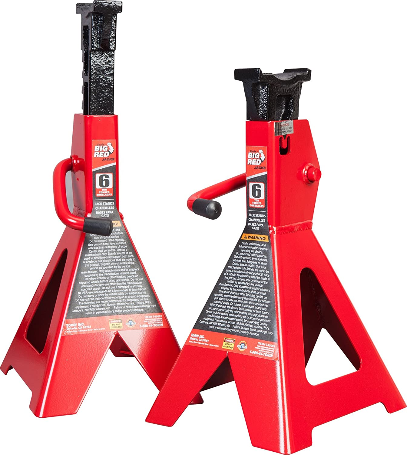 Torin Big Red Steel Jack Stands: 6 Ton Capacity