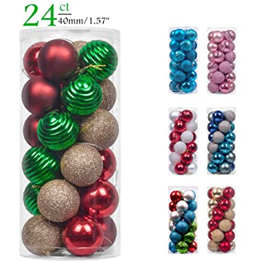 Teresa's Collections 24ct 40mm Country Road Red Green and Gold Shatterproof Christmas Ball Ornaments Decoration,Themed with Tree Skirt(Not Included)