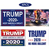 Kithwaro 4 Pieces Donald Trump 2020 Flags, President Donald Trump Tank Flag 2020 Keep America Great Flag with Grommets…