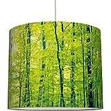 /ø 40 x 34 cm Sanftes Licht auch f/ür Tischleuchte oder Stehlampe Schirm f/ür Lampen mit Wald-Motiv in Gr/ün anna wand Lampenschirm//H/ängelampe Design GR/ÜNER WALD