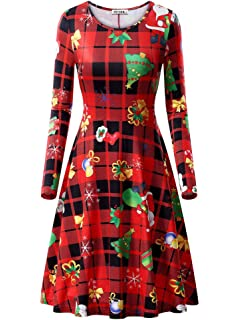 cc1b449c03 VETIOR Womens Ugly Christmas Xmas Dress Long Sleeve Casual Aline Party Dress