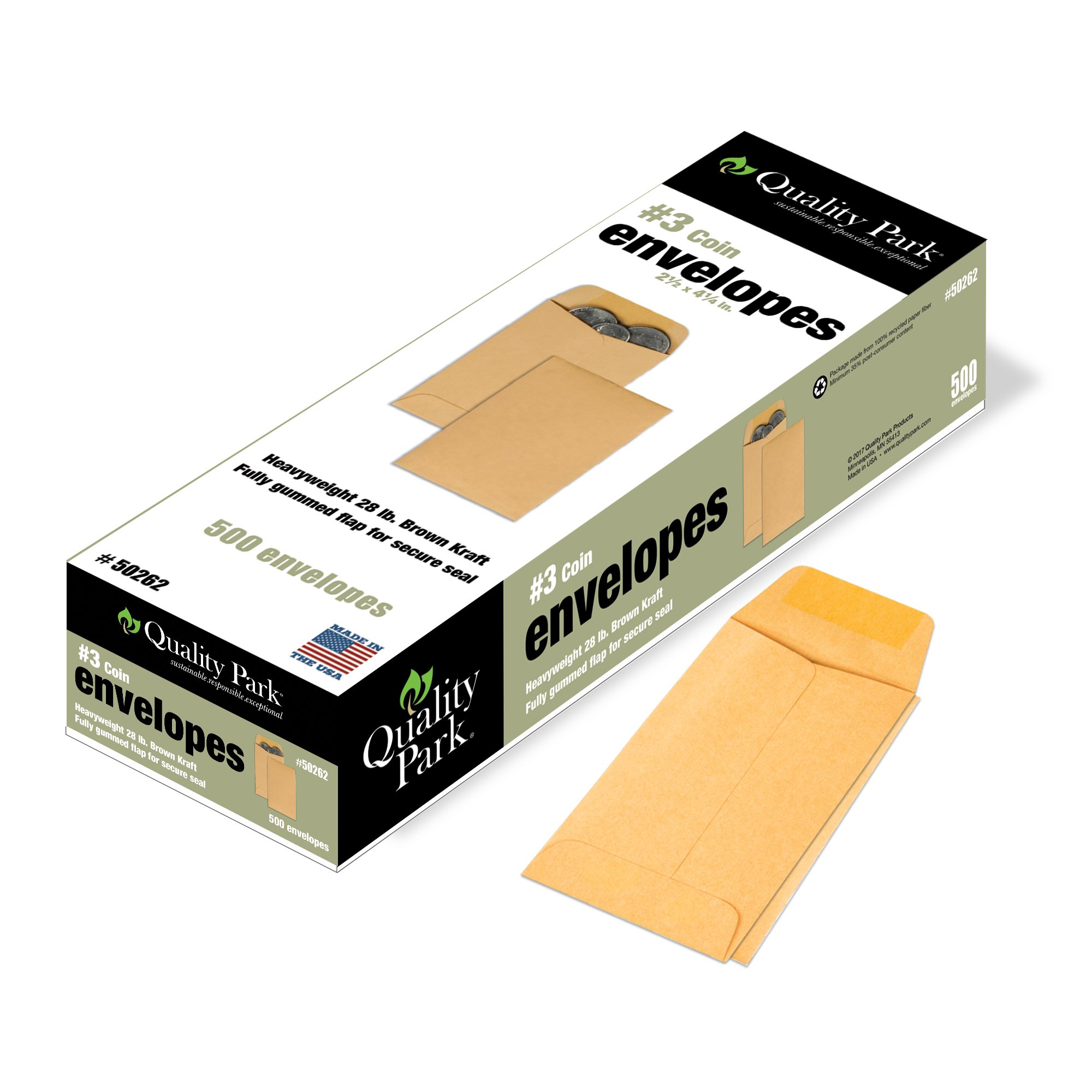 Quality Park Coin/Small Parts Envelopes, 3, Brown Kraft, 2.5 x 4.25-Inches, Box of 500 (50262)