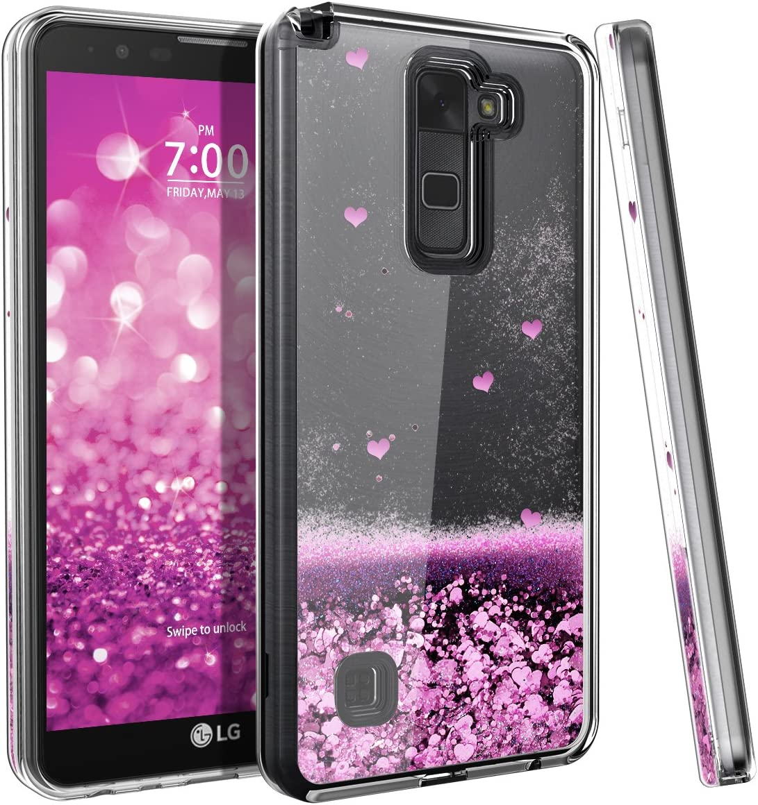 LG Stylo 2 Case, LG Stylo 2 Plus/Stylo 2 V/Stylus 2 / Stylus 2 Plus Case CinoCase Bling Glitter Liquid with 3D Moving Quicksand Love-Heart Design Protective Case for LG Stylo 2 (LS775) Pink