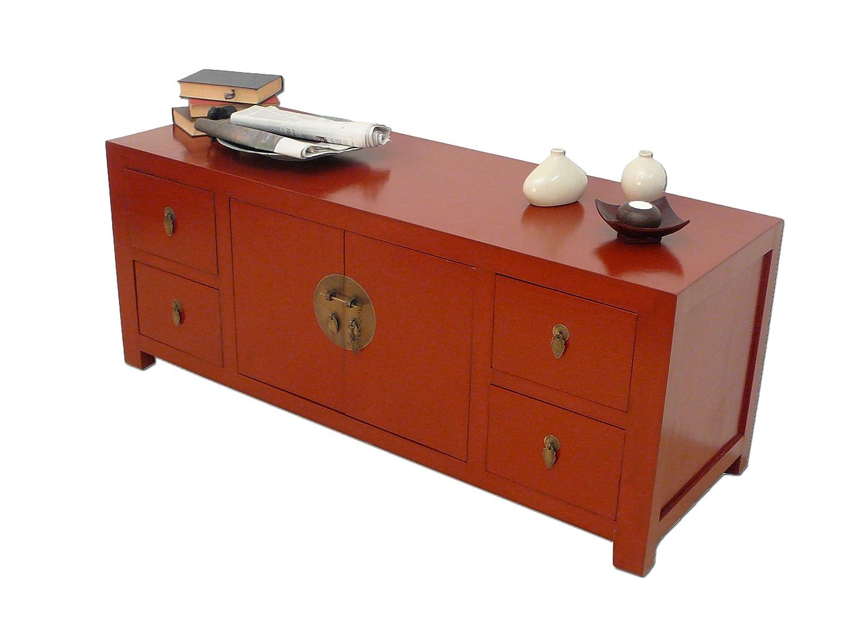 Flaches, chinesisches Sideboard in rot: Amazon.de: Küche & Haushalt