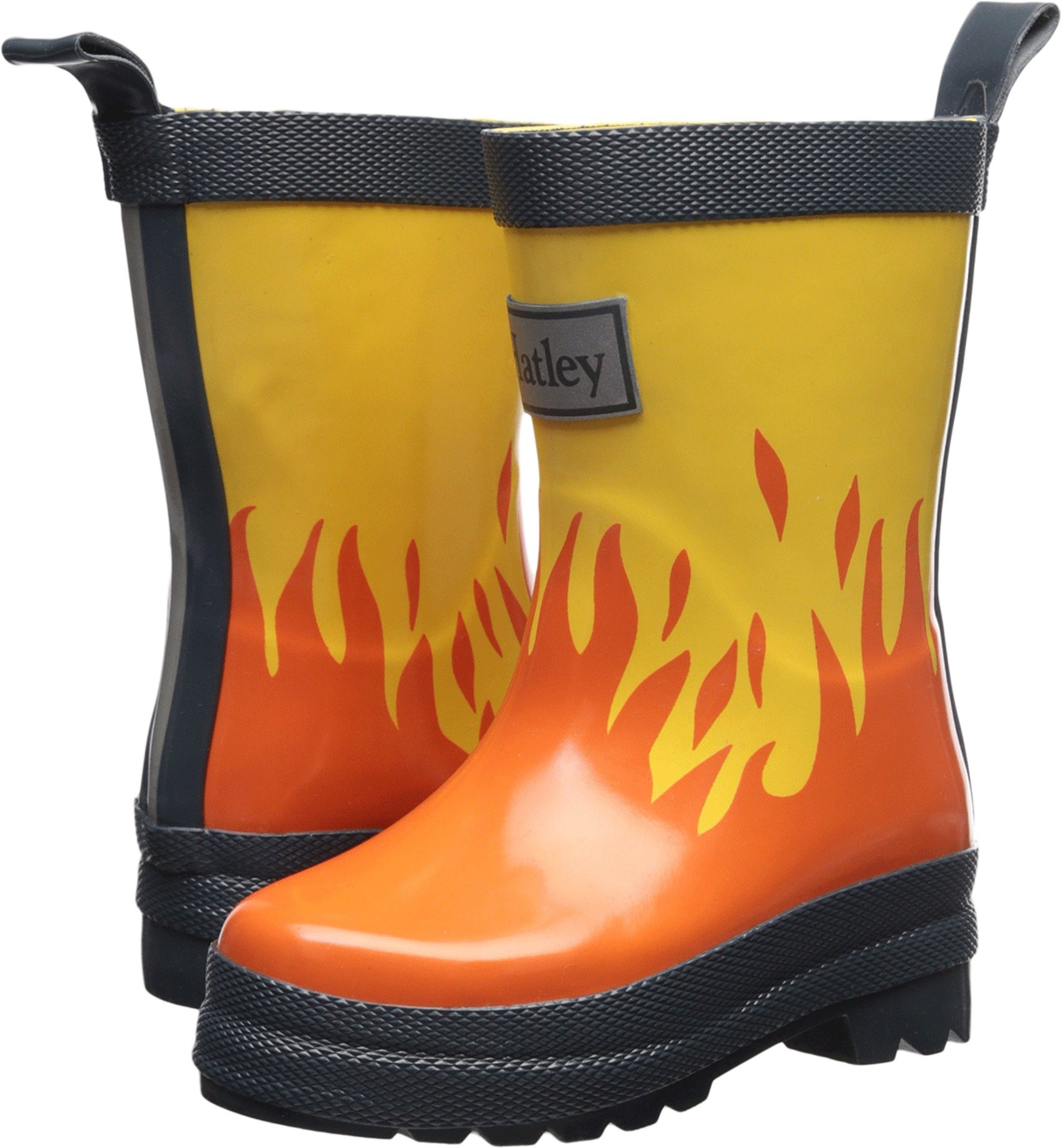 Hatley Boys' Printed Boots Rain Accessory, Lots of Fire, 4 M US Toddler