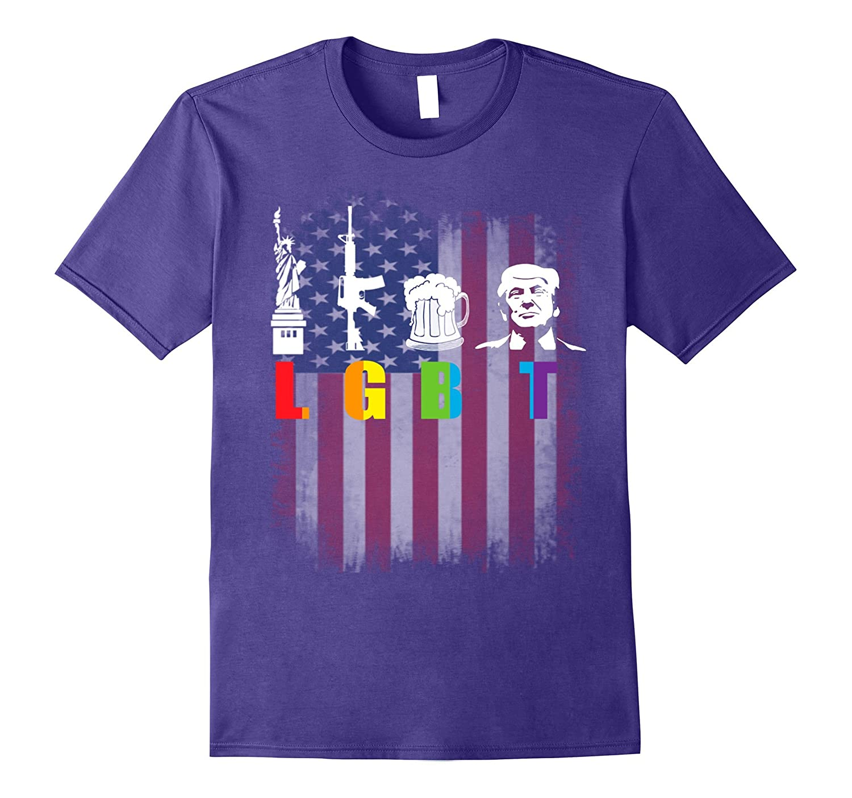 Liberty Guns Beer Trump T-Shirt LGBT Trump-Vaci
