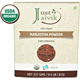 Just Jaivik 100% Organic Manjistha Powder - Certified Organic by OneCert Asia , 227 gms / 1/2 LB Pound / 08 Oz - Rubia cordifolia - Promoting healthy and clear skin (AN USDA Organic Certified Herb)