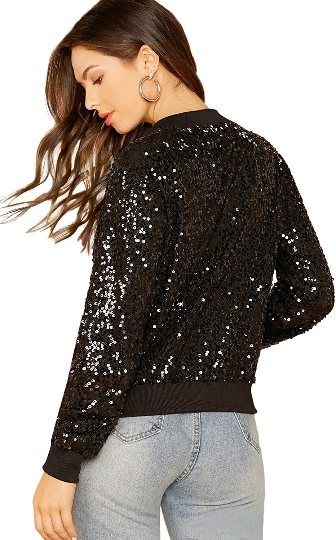 SheIn Womens Zip Up Stand Collar Sequin Casual Long Sleeve Crop Jacket