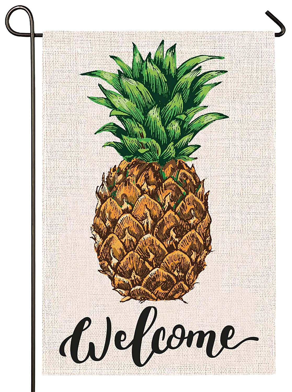 Atenia Burlap Garden Flag, Double Sided Garden Outdoor Yard Flags for Summer Decor (Pineapple)