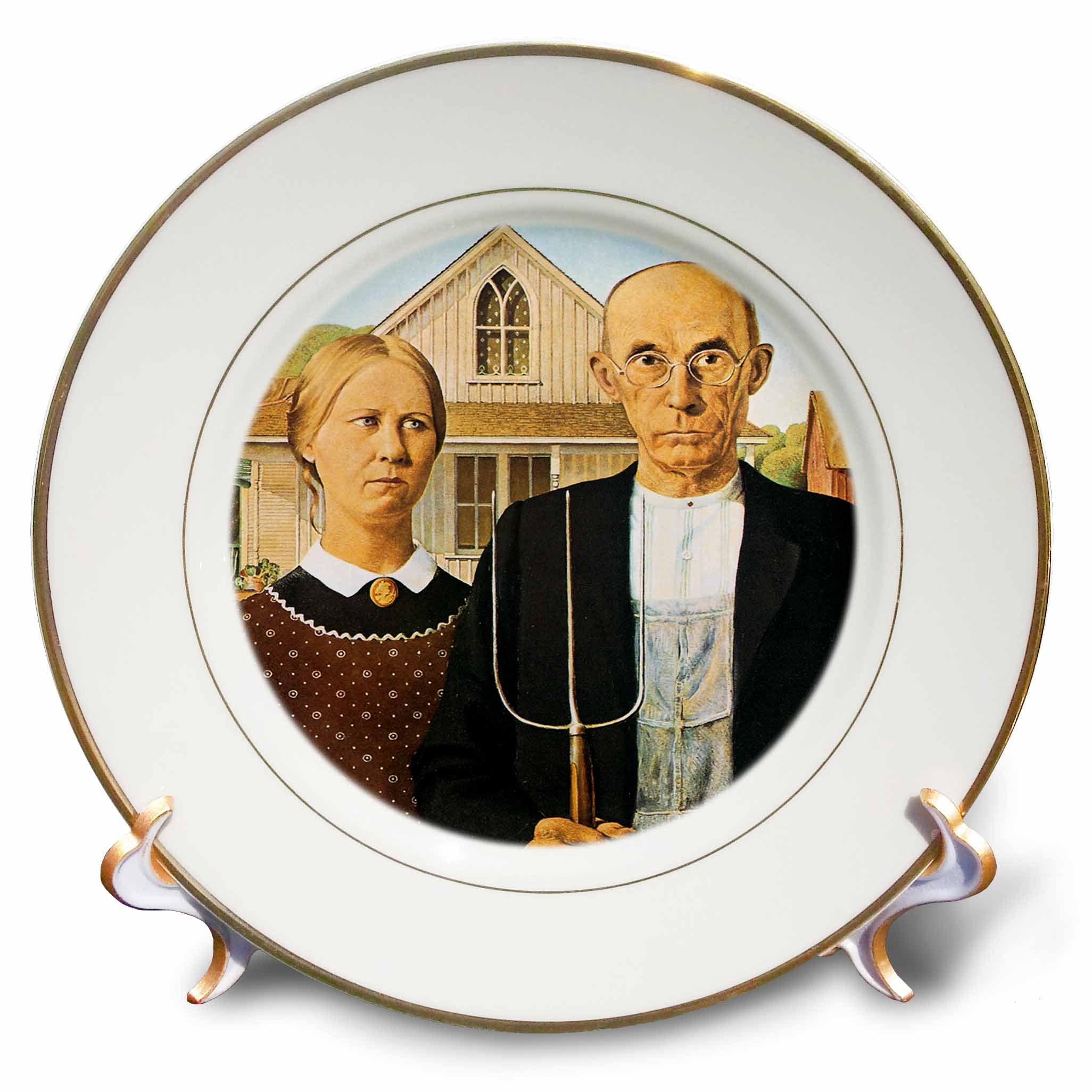 3dRose cp_130186_1 American Gothic by Grant Wood-Porcelain Plate, 8-Inch