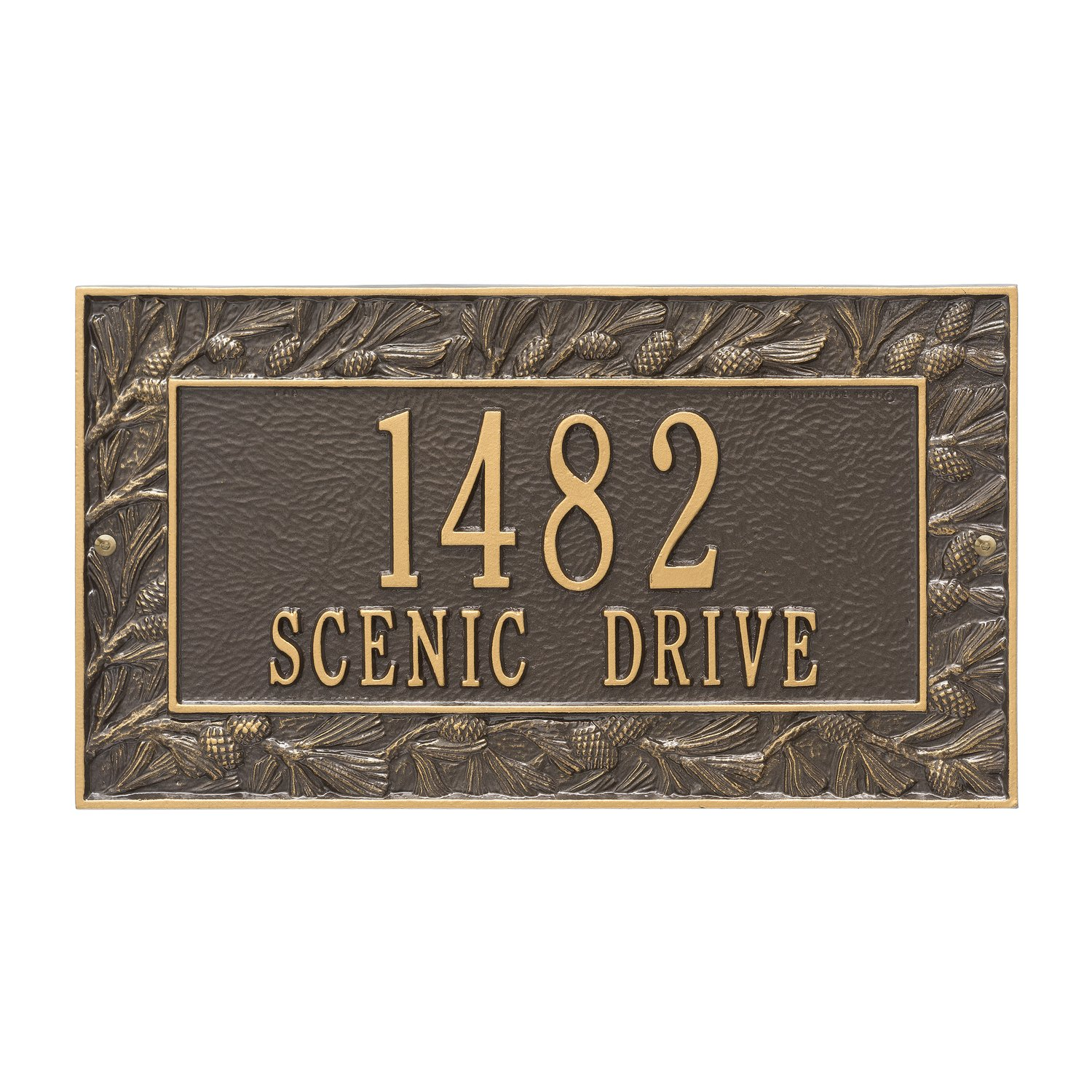 Custom 2 Lines Pinecone WALL Address Plaque 16Wx9H