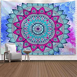 Indian Bohemian Psychedelic Peacock Mandala Tapestry Wall Hanging, Tapestry Dorm Decor for Living Room Bedroom 51.2X 59.1 Inches (Colorful Sunflower-4)