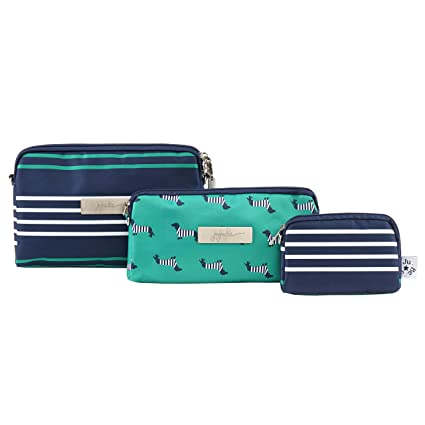 JuJuBe Be Set Travel Accessory Bags, Coastal Collection - Providence - Navy/Teal/White Stripes