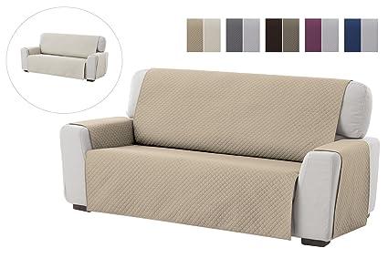 textil-home Funda Cubre Sofá Adele, 2 Plazas, Protector para Sofás Acolchado Reversible. Color Beige