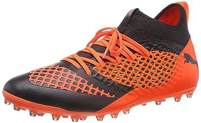 3ddddfd58 Puma Men's's Future 2.3 Netfit MG Footbal Shoes Black-Shocking Orange ...