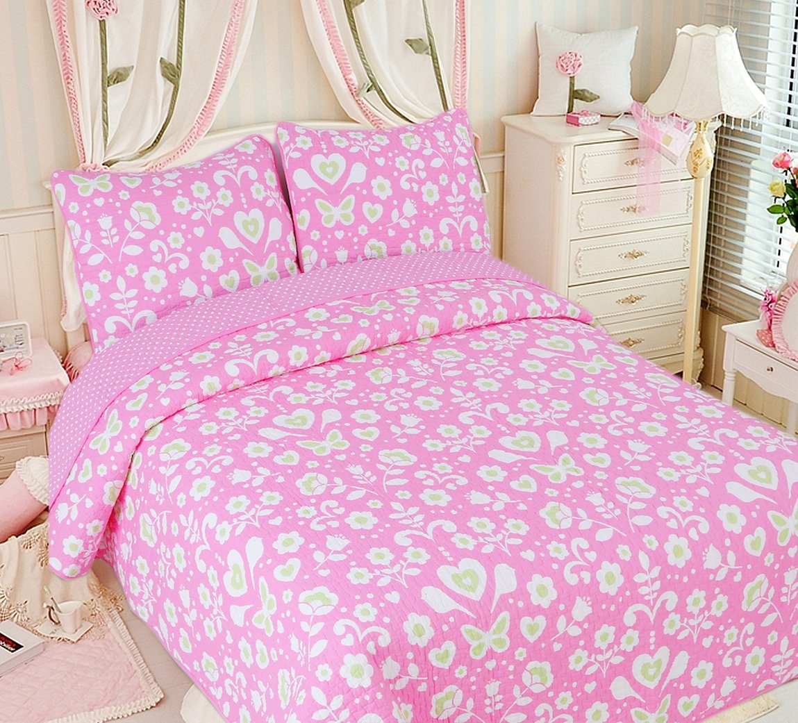 Cozy Line Home Fashions Goodnight Sweety Heart Quilt Bedding Set, Butterfly Flower Pink Green Printed 100% Cotton Reversible Coverlet Bedspread for Kids, Little Girl (Butterfly, Twin - 2 Piece)