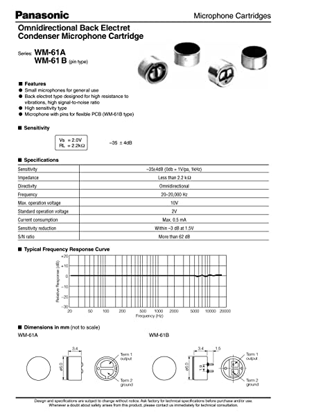 6pcs New WM-61A Panasonic Electret Condenser Mic Capsule Mic