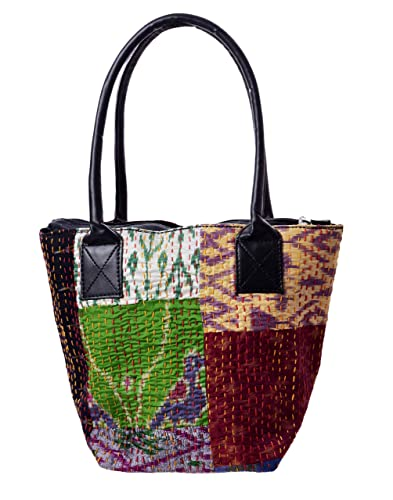 HANDICRAFT-PALACE Silk Patchwork Women Hand Bag Shoulder Kantha Quilted Vintage  Bag Tote Shopping Bag (Multicolored)  Amazon.in  Shoes   Handbags a082530fd5597