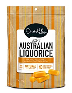 Soft Australian Mango Licorice - Darrell Lea 7oz Bag - NON-GMO, NO HFCS, Vegetarian & Kosher - America's #1 Soft Eating Licorice Brand!
