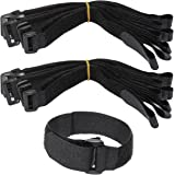 LJY 16-Pack Hook and Loop Straps Nylon Cable Ties Organizer Fastener, 30 cm x 2.5 cm, Black