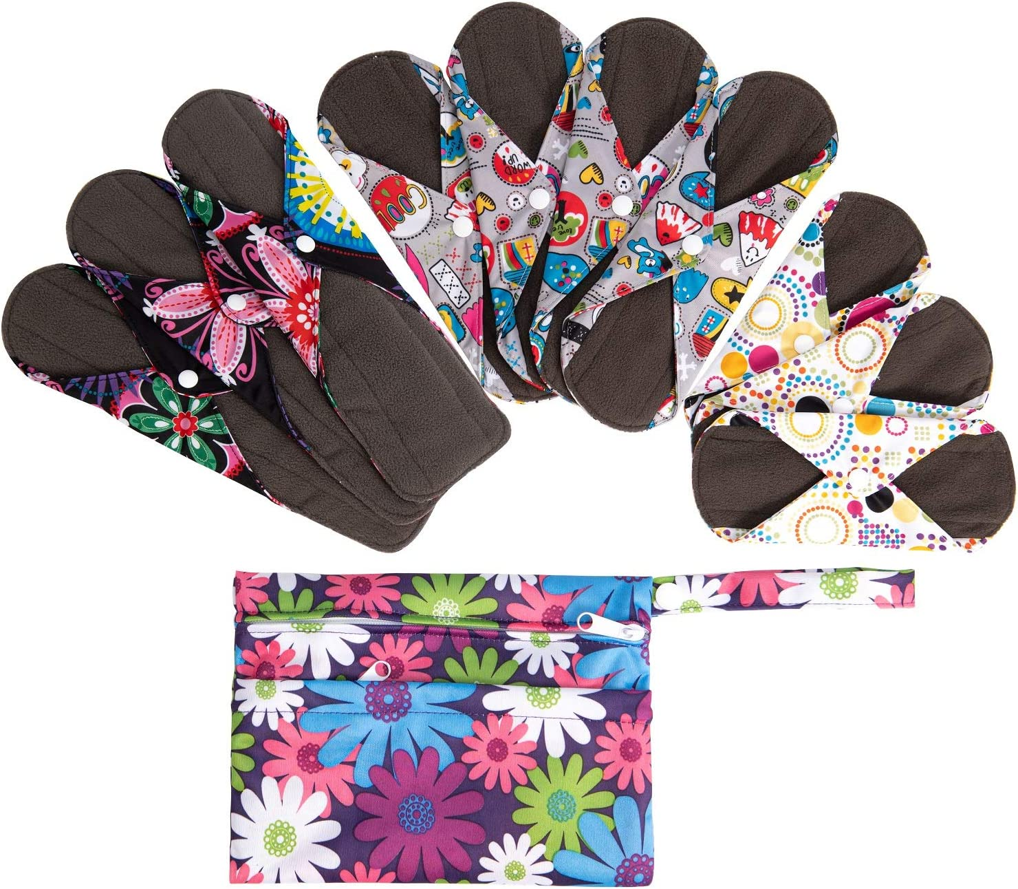 Amazon Com 10pcs Sanitary Pads Reusable Washable Charcoal Cloth Menstrual Pads With Wet Bag Super Absorbent And Comfortable Panty Liners 3pcs 8 4pcs 9 8 3pcs 12 6 Health Personal Care