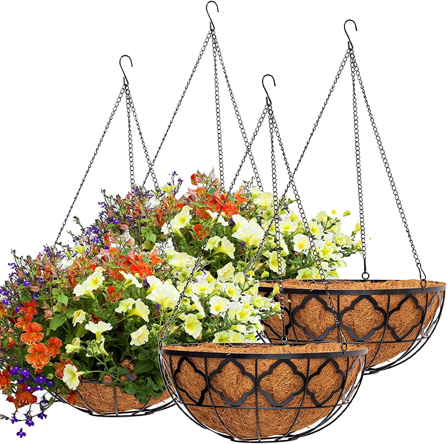 4pcs Hanging Planter Basket with Coco Coir Liner, Y&M 14